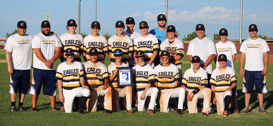 Maggie Camps Members of the Southern Nevada Eagles 16U baseball team gather for a group photo after their 6-0 championship game over Shadow Ridge at Faith Lutheran on July 24, 2018.