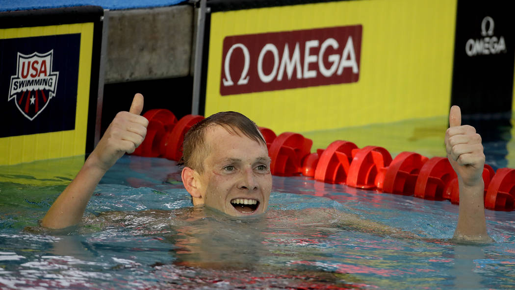 Chris Carlson/The Associated Press Zane Grothe, a 2010 Boulder City High School graduate, celebrates after winning the men's 800-meter freestyle final at the U.S. national championships swimming m ...
