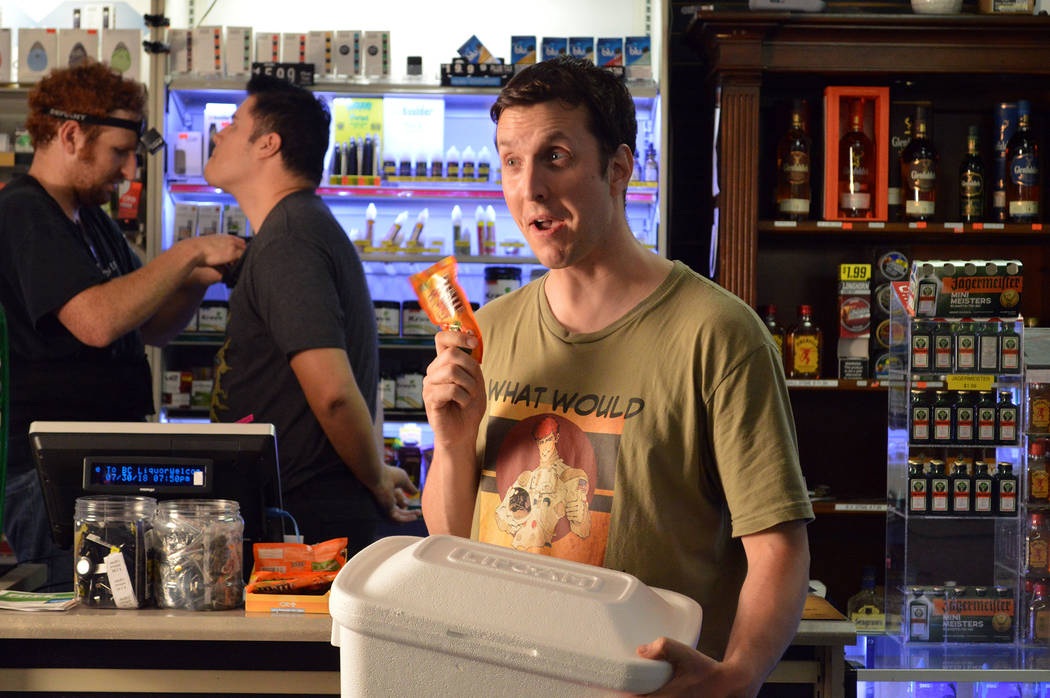 """Celia Shortt Goodyear/Boulder City Review Las Vegas actor Ben Stobber gets ready to film at BC Liquor, 806 Buchanan Blvd., for Lisa Savy's feature film """"Space Captain and Callista."""" Savy lives in ..."""