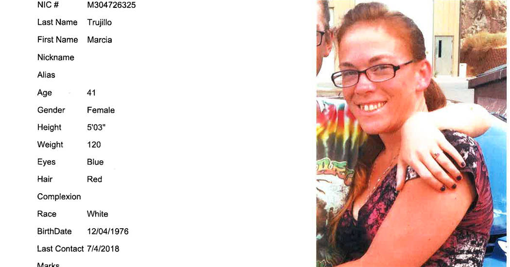 Boulder City Police Department Boulder City Police Department is asking for residents' help to find a missing woman. Marcia Trujillo, 41, was last seen July 30.
