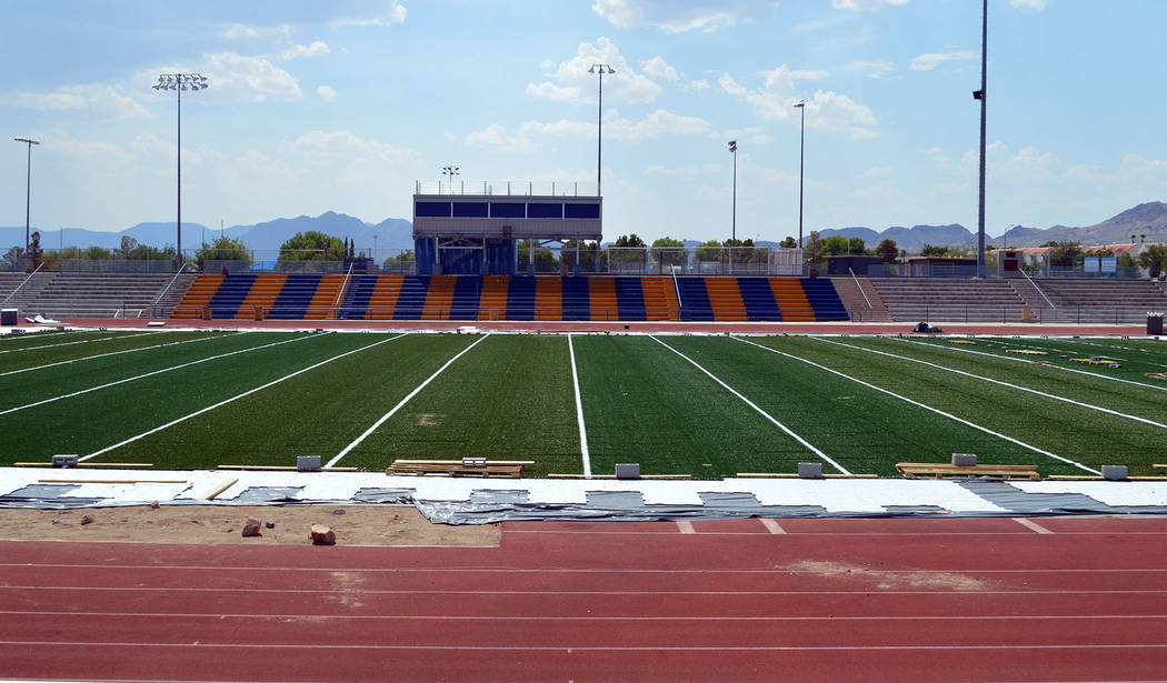 Celia Shortt Goodyear/Boulder City Review Boulder City High School's new football field is a state-of-the-art facility that includes a new press box, concession stands, restrooms and visitor sea ...