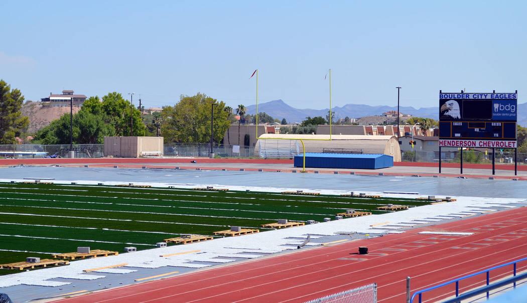 Celia Shortt Goodyear/Boulder City Review Boulder City High School's football field features a cork infill and new goal posts.