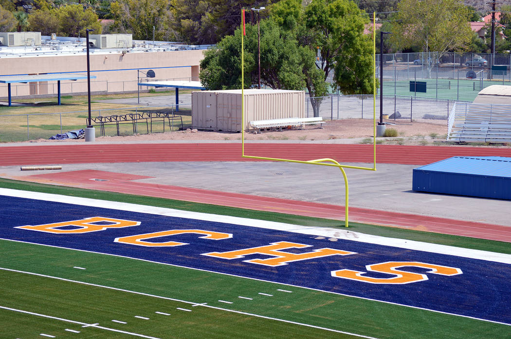 Celia Shortt Goodyear/Boulder City Review Boulder City High School will start its new school year with a brand-new state of the art football field.