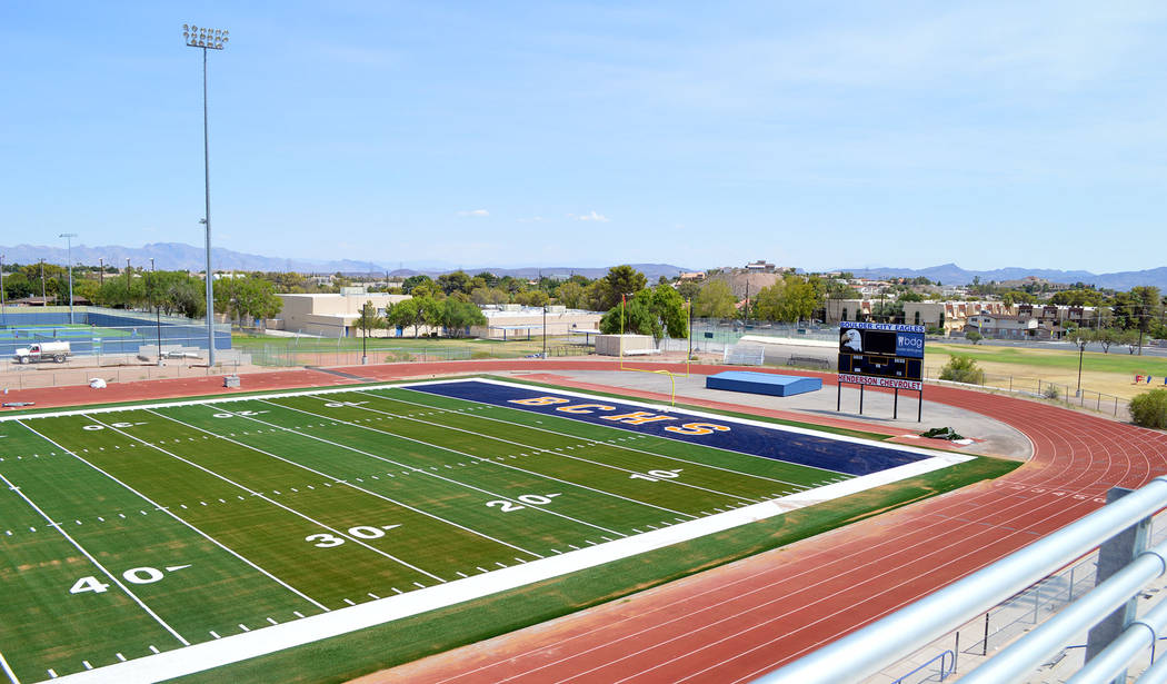 Celia Shortt Goodyear/Boulder City Review The Eagles will get a chance to show off their new field for a Thursday Night Lights game on Sept. 20.