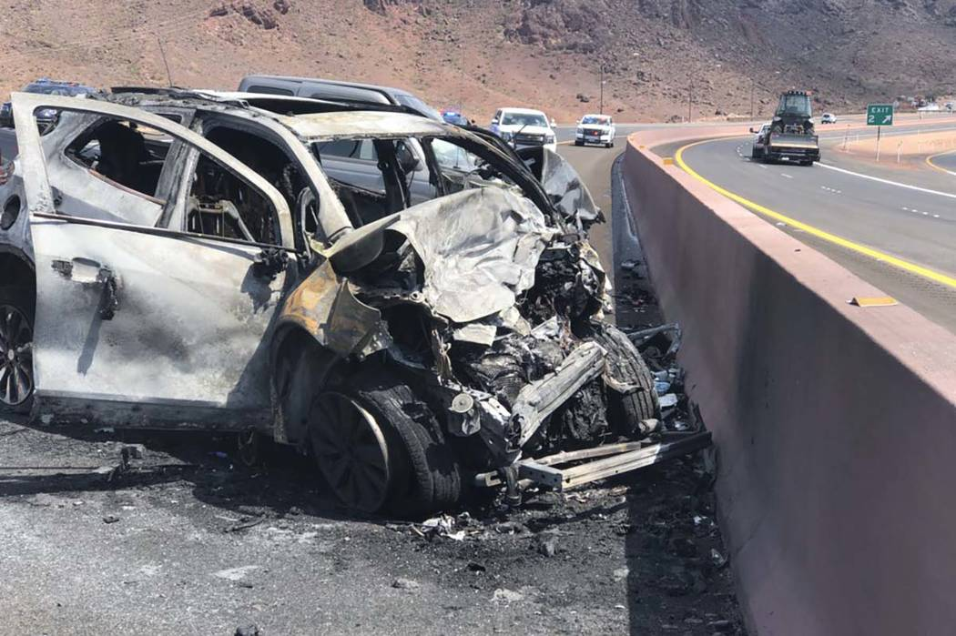 Twitter/Nevada Highway Patrol The Nevada Highway Patrol reported that two people were killed in a crash on the newly opened Interstate 11, close to the junction with U.S. Highway 93, near Boulder ...