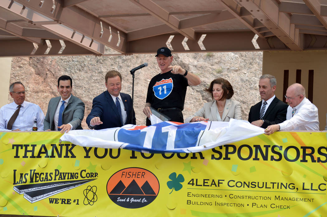 Celia Shortt Goodyear/Boulder City Review Local, state and federal officials, from left, Clark County Commissioner Jim Gibson, U.S. Rep. Ruben Kihuen, U.S. Sen. Dean Heller, Clark County Commissio ...