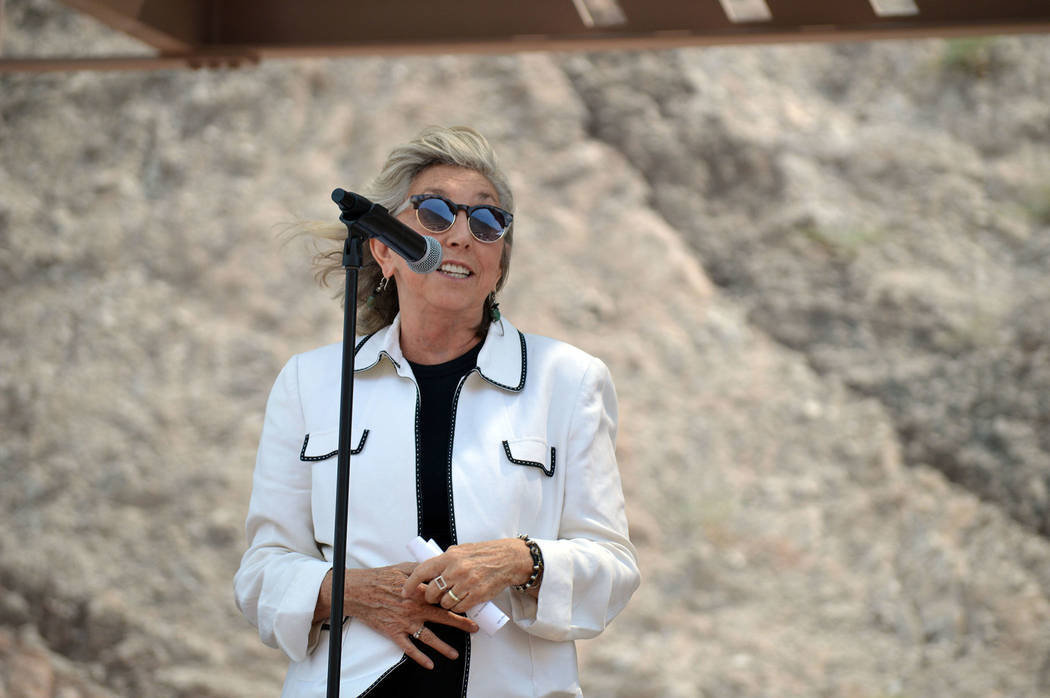 Celia Shortt Goodyear/Boulder City Review U.S. Rep. Dina Titus thanks everyone who helped create the new Interstate 11 on Aug. 9 during a grand opening ceremony.