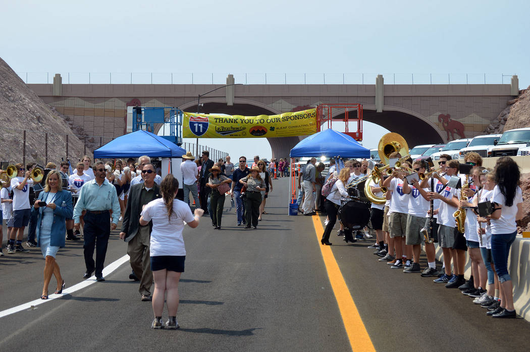 Celia Shortt Goodyear/Boulder City Review The Boulder City High School marching band serenades attendees at Interstate 11 grand opening Aug. 9.