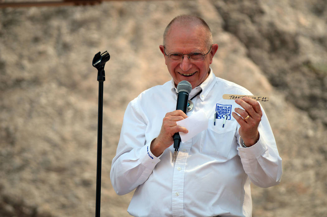 "Celia Shortt Goodyear/Boulder City Review Nevada Sen. Joe Hardy Jr. holds up the ""ahh stick"" he made when he was on Boulder City Council and concerned about the traffic in the community."