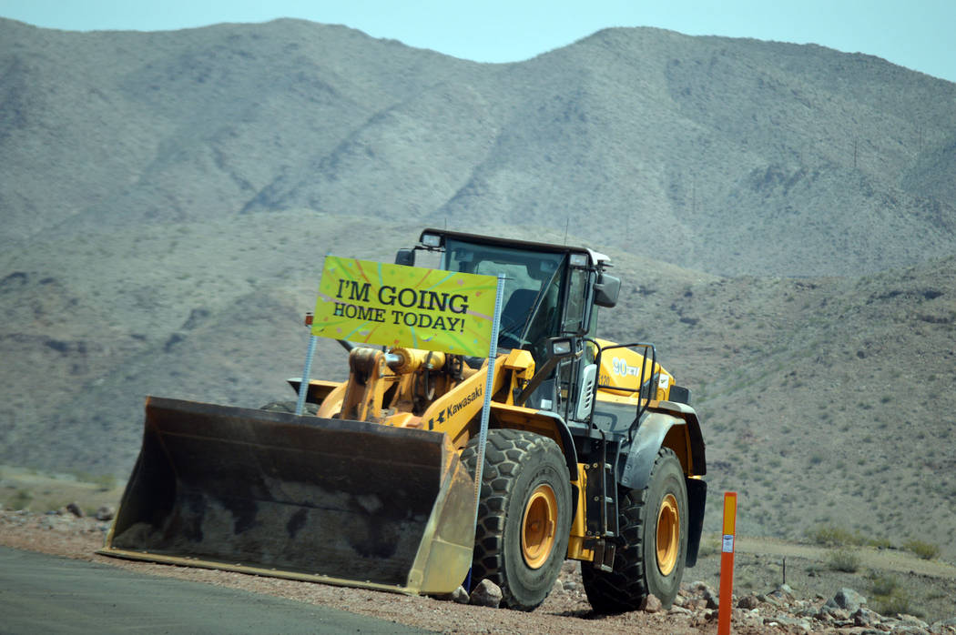 Celia Shortt Goodyear/Boulder City Review Las Vegas Paving Co.'s equipment was able to go home and leave Interstate 11 on Aug. 9 when the highway officially opened.