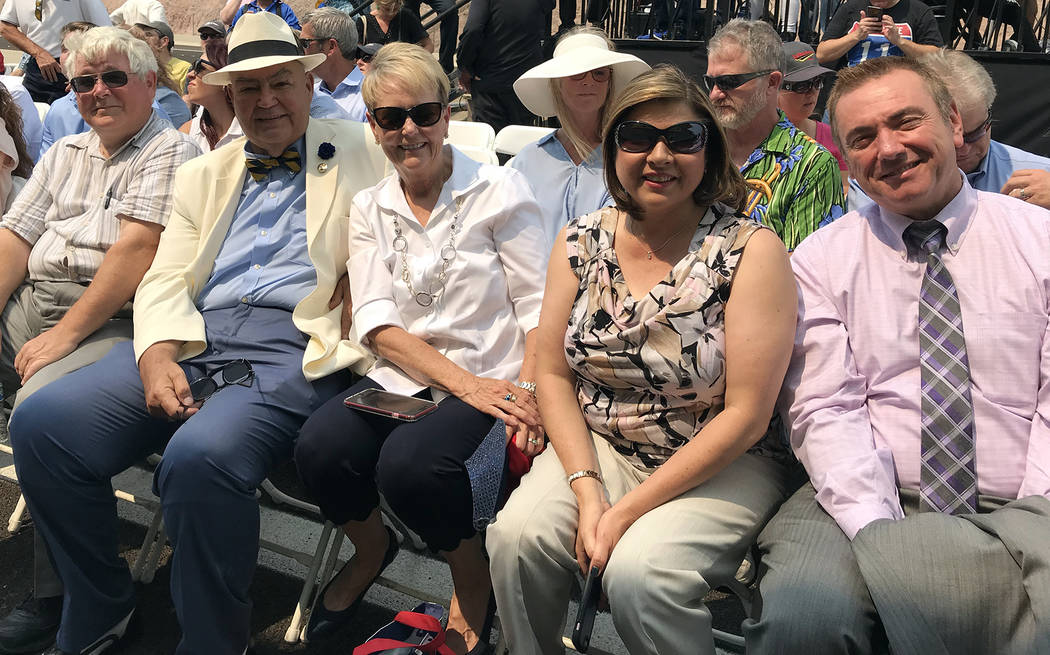 Hali Bernstein Saylor/Boulder City Review Local government officials came out to celebrate the opening of Interstate 11 on Aug. 9 including, from left, Boulder City Council members Kiernan McManus ...