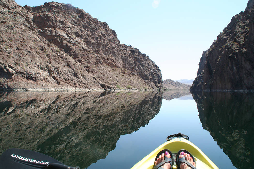Deborah Wall The smooth, clear waters of the Black Canyon National Water Trail below the Hoover Dam are best enjoyed by canoe, kayak or paddleboard.