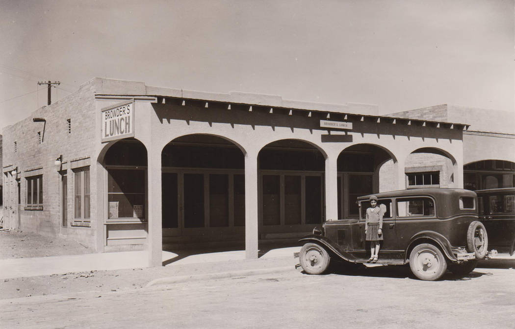 Boulder City/Hoover Dam Museum Ida Browder's daughter, Ida Browder Kelly, is seen standing on the running board in front of her mother's building and restaurant. Kelly owned the property until she ...