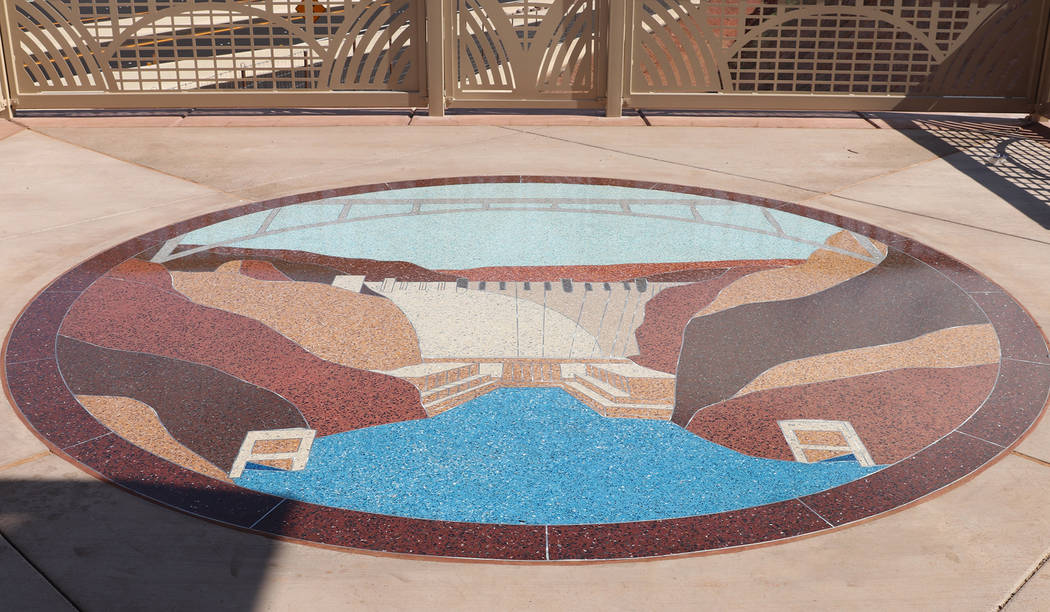Regional Transportation Commission of Southern Nevada Part of the scenic overlook along Interstate 11 features a stone mosaic of Hoover Dam and the Hoover Dam Bypass Bridge.
