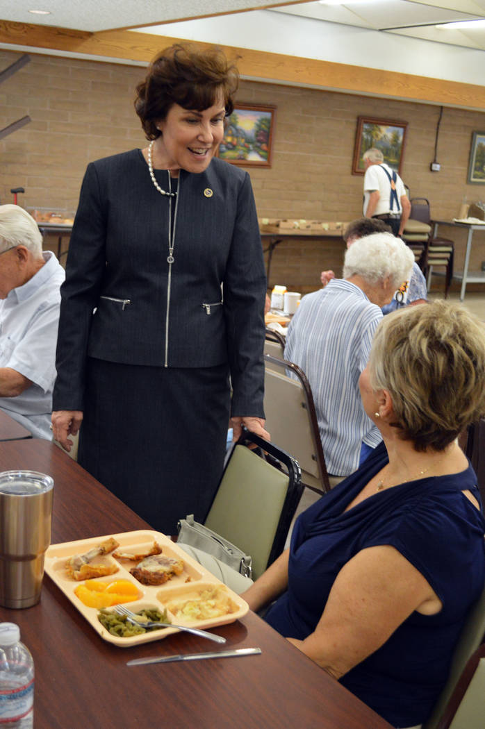 Celia Shortt Goodyear/Boulder City Review U.S. Rep. Jacky Rosen chats with the Rev. Carole Fucillo on Aug. 16 during lunch at the Senior Center of Boulder City.