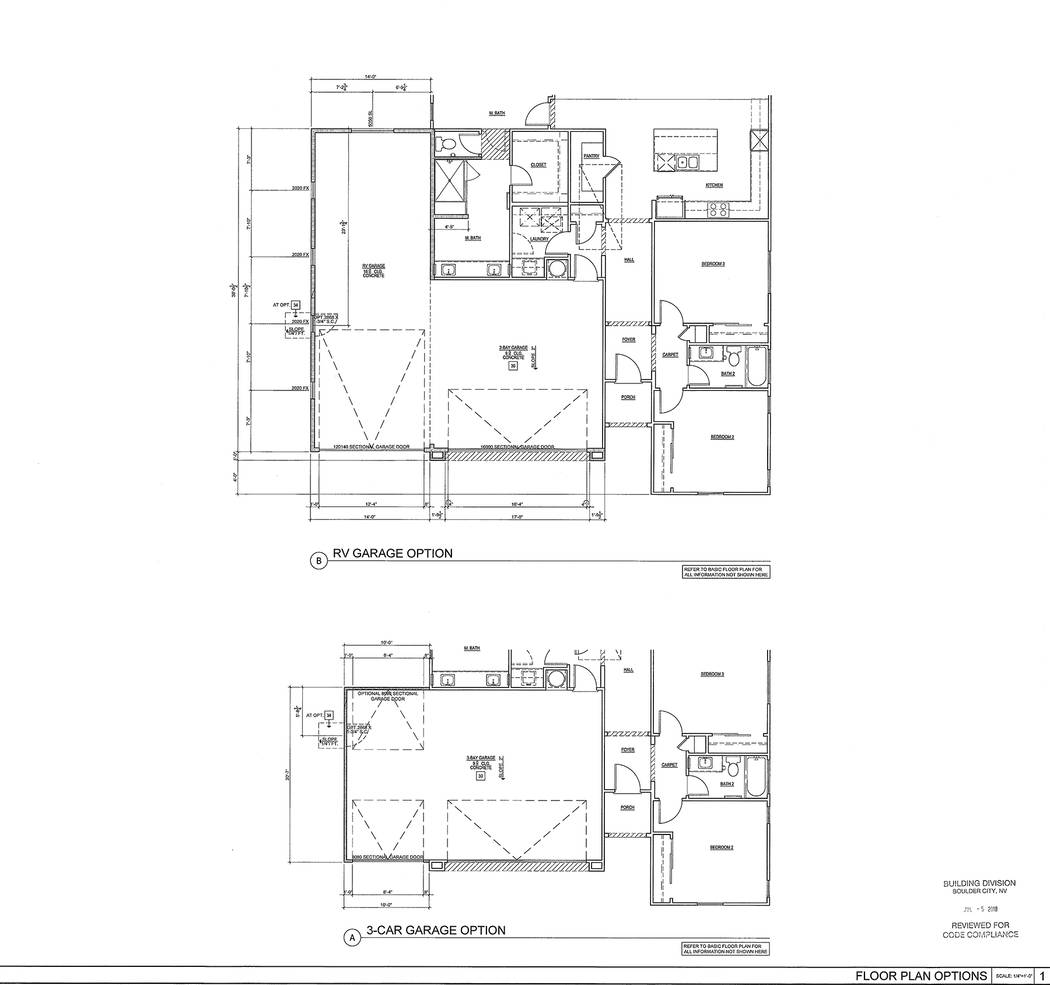 Boulder City StoryBook Homes' proposed Plan 2 for its Boulder Hills Estates neighborhood at Adams Boulevard and Bristlecone Drive shows the RV garage option. The builder requested a variance for a ...