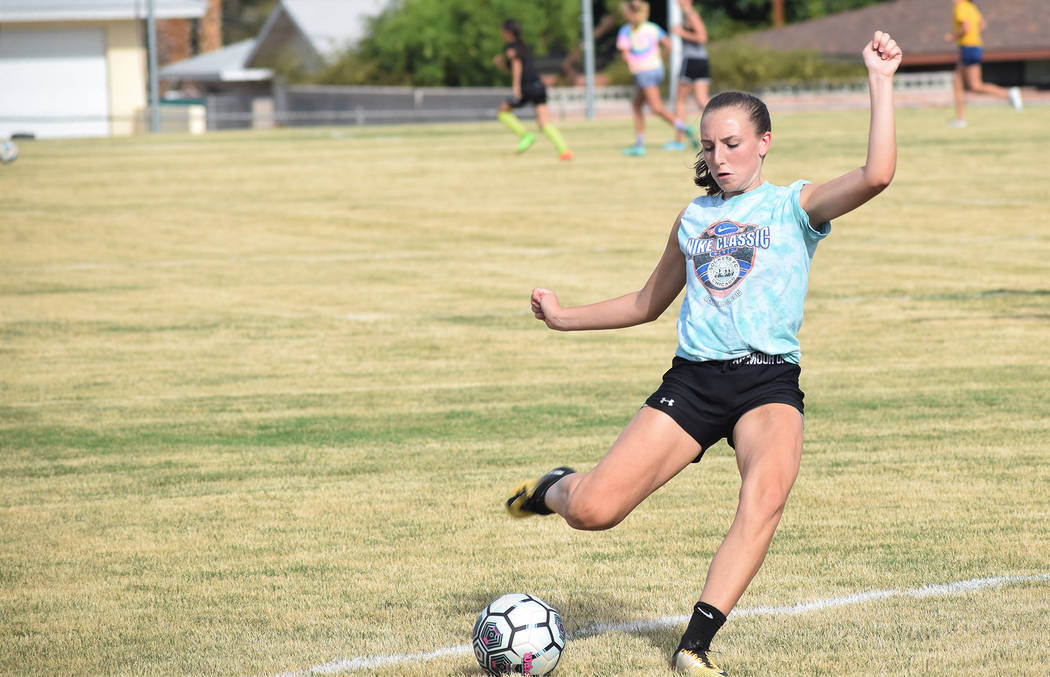 Robert Vendettoli/Boulder City Review Boulder City High School junior Madison Manns will lead the Lady Eagles soccer team this year. Last season, she scored a team-high nine goals with five assists.