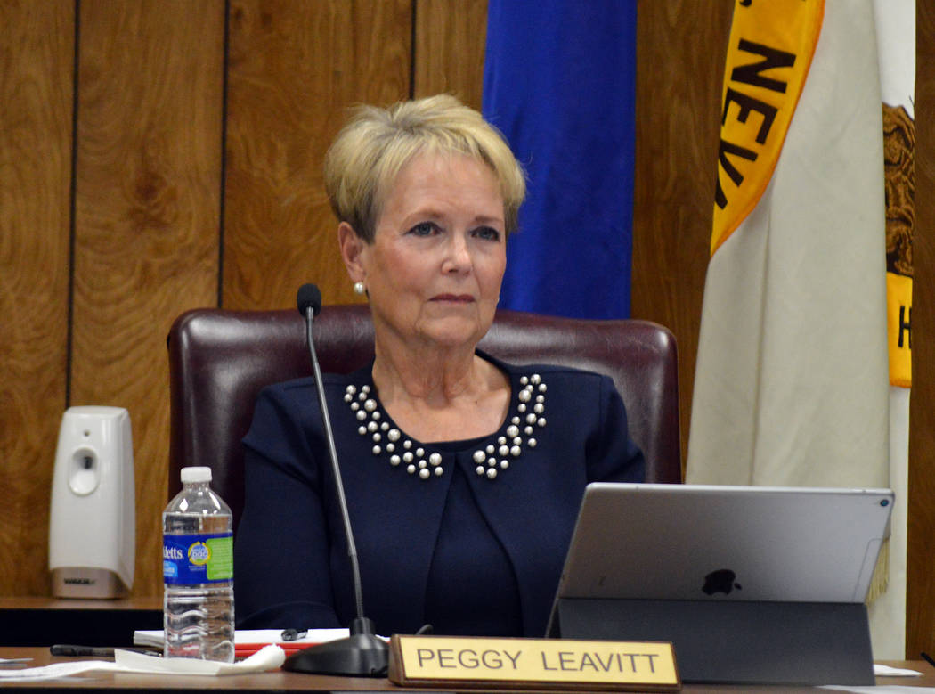 Celia Shortt Goodyear/Boulder City Review Councilwoman Peggy Leavitt listens to a presentation during the City Council meeting Tuesday, Aug. 28. At the meeting, council introduced a bill to creat ...