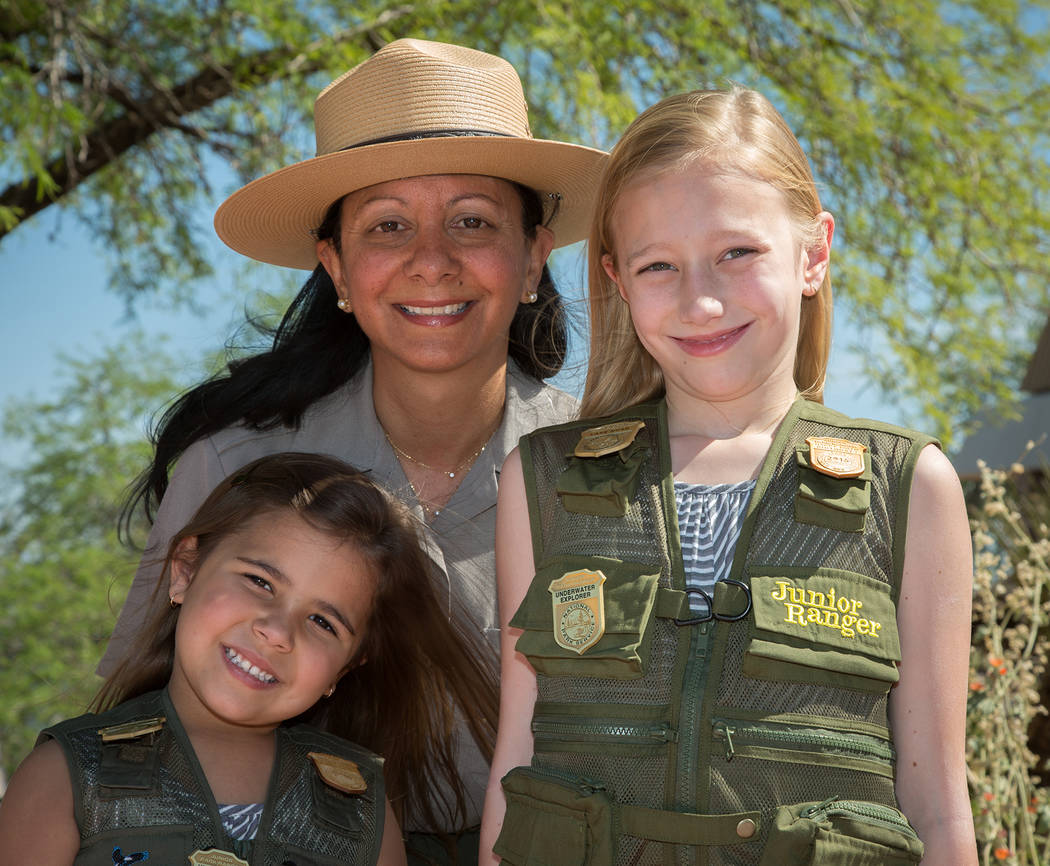 Lake Mead National Recreation Area Lizette Richardson, center, who is retiring as superintendent of Lake Mead National Recreation Area on Friday, spent some time with her nieces Rayni and Kelsey S ...