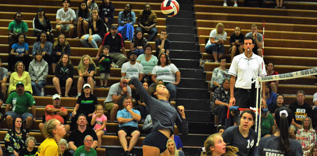 Robert Vendettoli/Boulder City Review Boulder City High School senior Setia Cox, seen in the game against Green Valley on Thursday, Aug. 23, has contributed 23 kills to the team's offensive attack ...