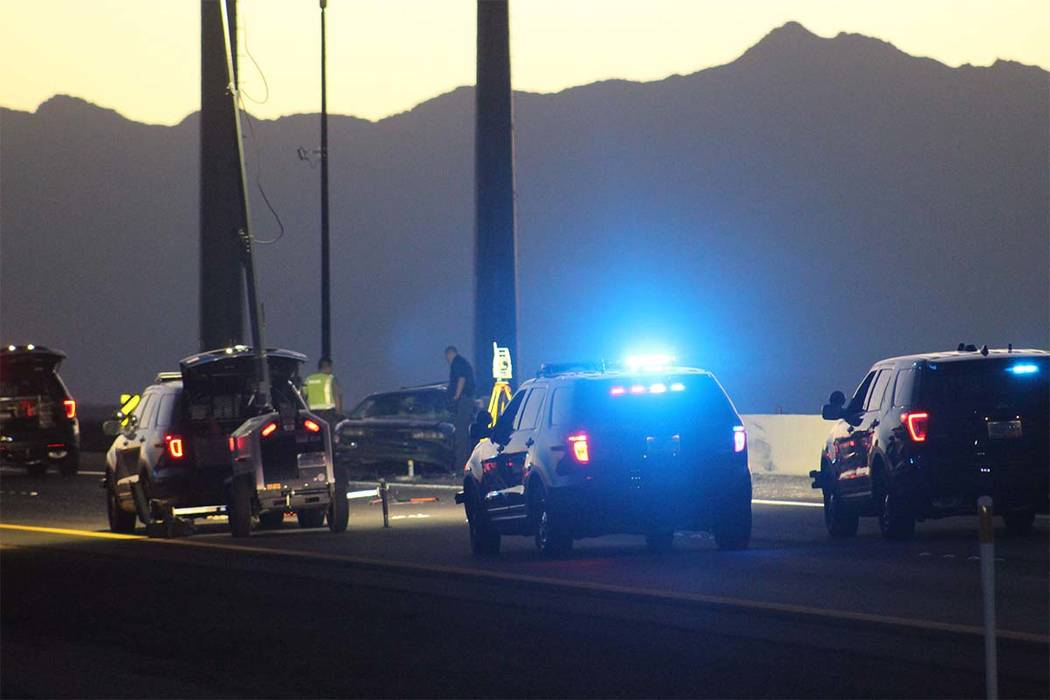Max Michor/Las Vegas Review-Journal Two people were killed early Tuesday when their vehicle was hit by another vehicle on Interstate 11.
