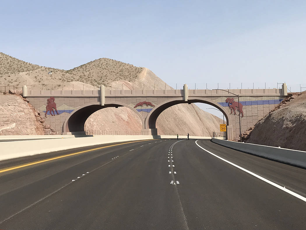 Tony Illia/Nevada Department of Transportation This bridge over Interstate 11 east of Boulder City was built for bighorn sheep. In the coming months and years, wildlife officials in Nevada and Ari ...