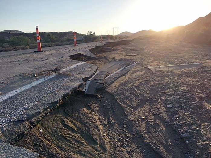 Nevada Department of Transportation Flood waters damaged Nipton Road Repairs are underway to fix a portion of Nipton Road (State Route 164), which closed Aug. 15 following flash flooding.