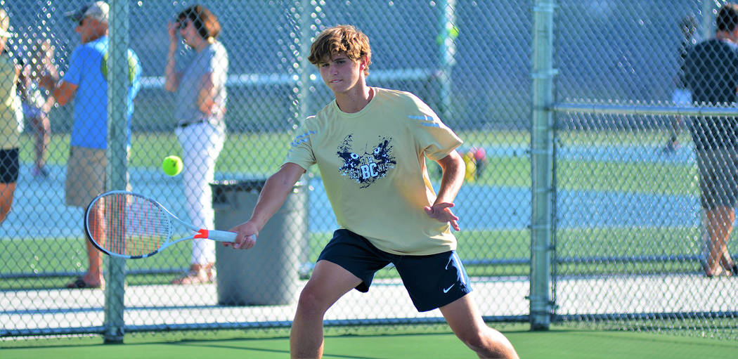 Robert Vendettoli/Boulder City Review Boen Huxford, a junior at Boulder City High School, went 2-0 in doubles play with Preston Jorgensen against Virgin Valley on Aug. 29 to help the Eagles win th ...