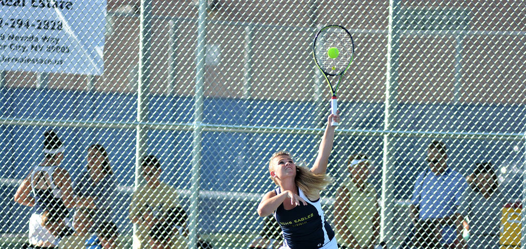 Robert Vendettoli/Boulder City Review Boulder City High School junior doubles player Katelyn Fox was instrumental in helping the Lady Eagles rout Virgin Valley 16-2 on Aug. 29.