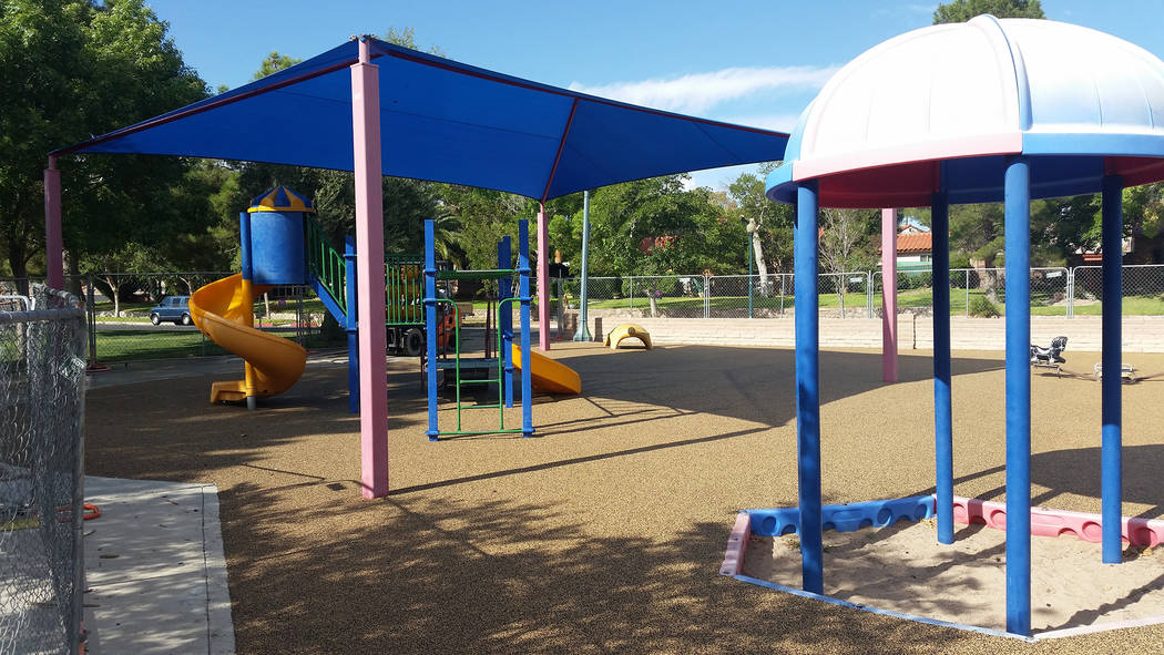 Celia Shortt Goodyear/Boulder City Review The playground at Bicentennial Park is getting a new surface and some improved equipment. Both are expected to be complete by the end of next week.