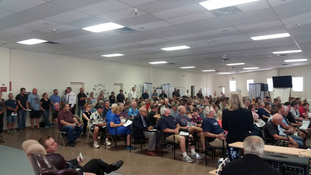 Celia Shortt Goodyear/Boulder City Review More than 150 people attend a town hall meeting about allowing off-highway vehicles on Boulder City streets Tuesday, Sept. 4, at the Elaine K. Smith Buil ...