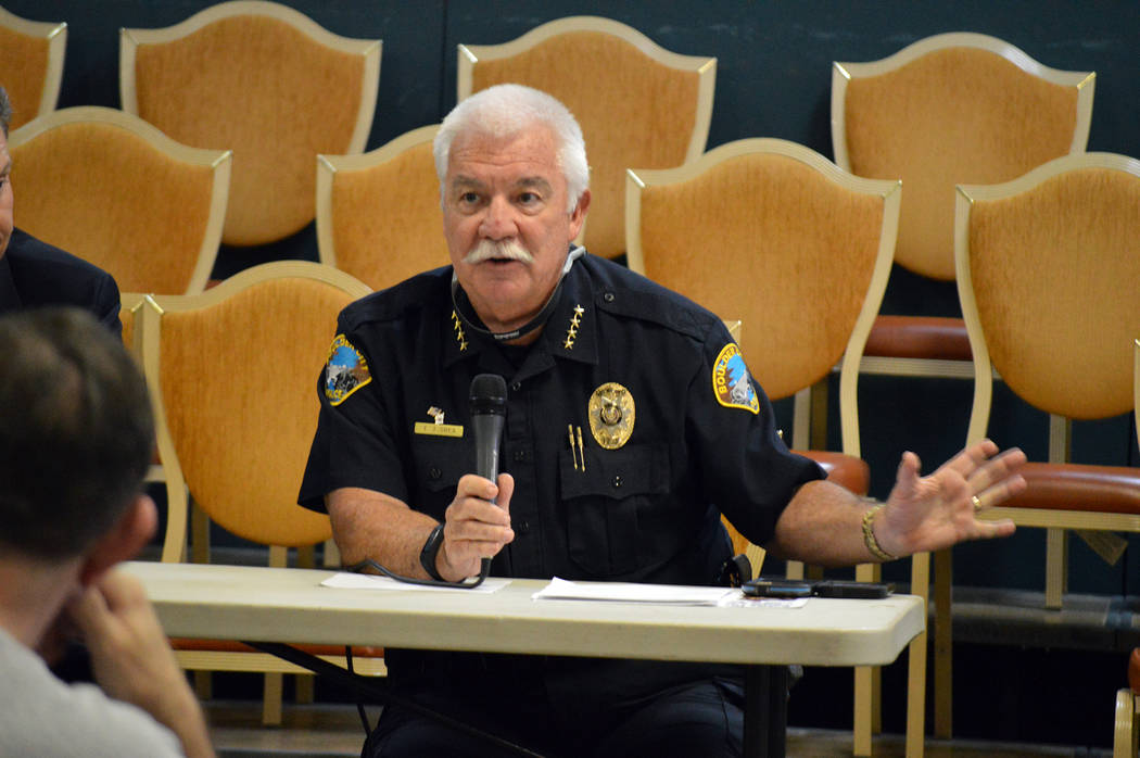 Celia Shortt Goodyear/Boulder City Review Boulder City Police Chief Tim Shea talks about off-highway vehicles at a town hall meeting at the Elaine K. Smith Building on Tuesday.