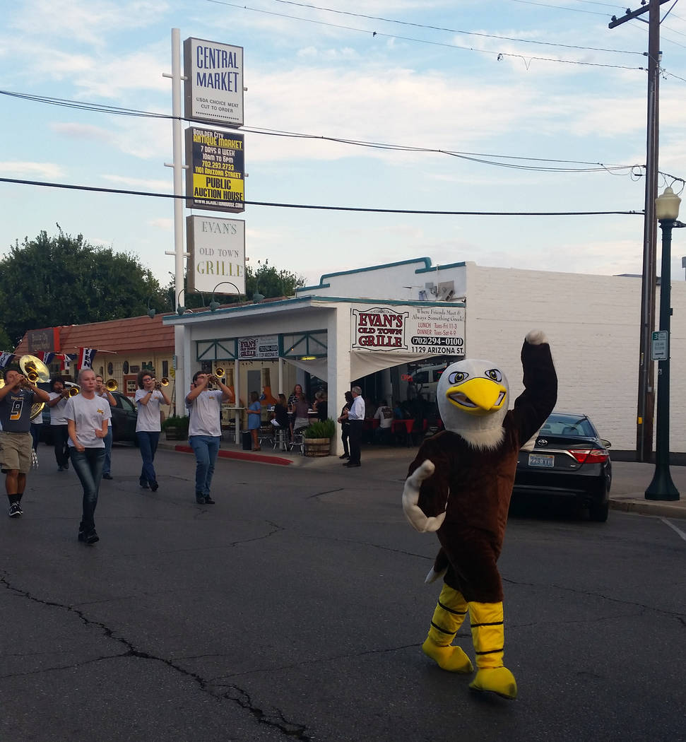 File The Boulder City High School mascot gets everyone excited about homecoming during the 2017 parade. This year's parade starts at 6 tonight.