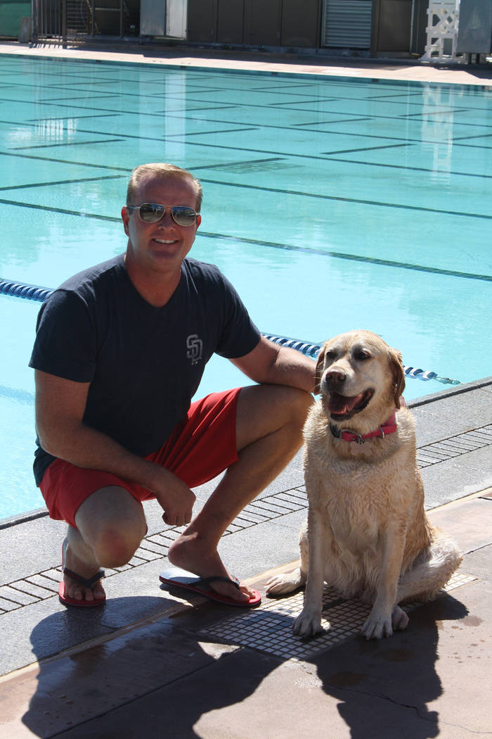 Cheree Brennan/Boulder City Parks and Recreation Department Ed Cave brought his Yellow Labrador named Piper to the Soggy Doggy event at the Boulder City Pool on Saturday.