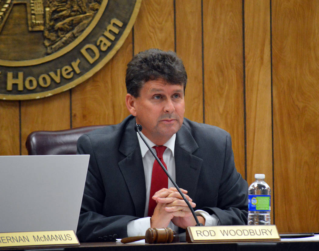 Celia Shortt Goodyear/Boulder City Review Mayor Rod Woodbury makes a comment at the City Council meeting Tuesday, Sept. 11.