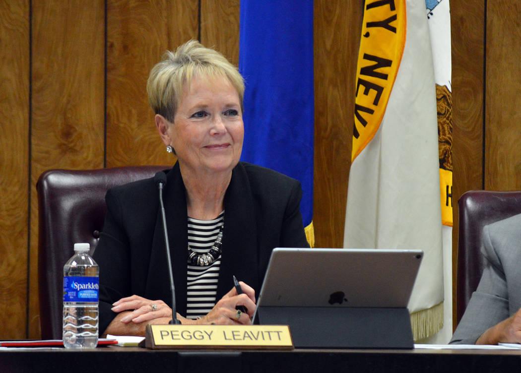 Celia Shortt Goodyear/Boulder City Review Councilwoman Peggy Leavitt listens to a presentation at the City Council meeting Tuesday, Sept. 11.