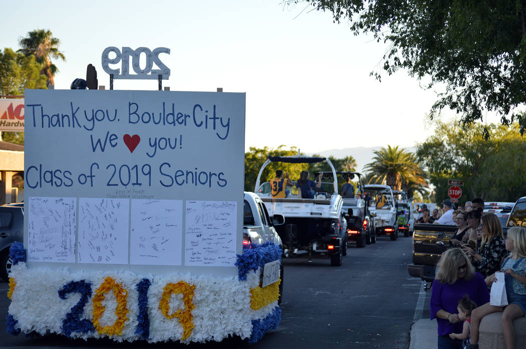 Celia Shortt Goodyear/Boulder City Review Members of Boulder City High School's class of 2019 closes out the 2018 homecoming parade in downtown Boulder City on Sept. 13.