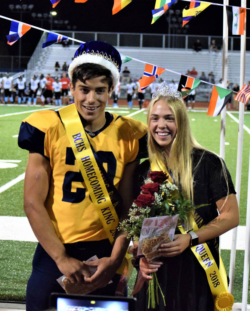 Robert Vendettoli/Boulder City Review Seniors Thorsten Balmer and Ashleigh Wood were named homecoming king and queen during festivities Friday during Boulder City High School's game against Western.