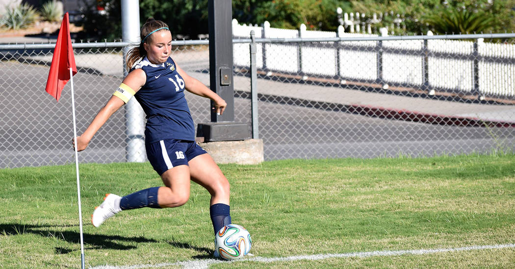 Robert Vendettoli/Boulder City Review Makenna Aboreen helped the Lady Eagles claim their victory of the season Sept. 12, 2018, against Slam Academy. They defeated the Bulls 2-1.