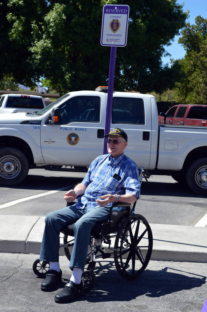 Celia Shortt Goodyear/Boulder City Review World War II veteran William Dunsmore was on hand Monday, Sept. 17, to unveil a parking spot at City Hall, 401 California Ave., that is now reserved for P ...