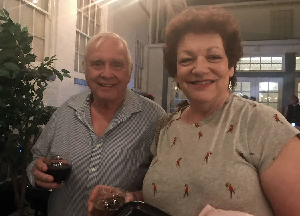 Hali Bernstein Saylor/Boulder City Review Fred Droegemueller and Anita Moody were happy to sample the wine and chocolate at the American Association of University Women, Boulder City Branch's semi ...
