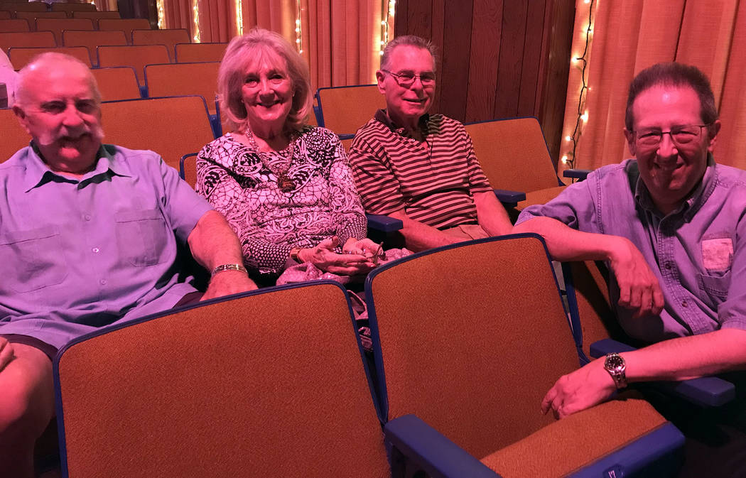 Hali Bernstein Saylor/Boulder City Review Michael Green, right, an associate professor of history at UNLV who served as moderator for Boulder City Chautauqua performances Saturday visits with, fro ...