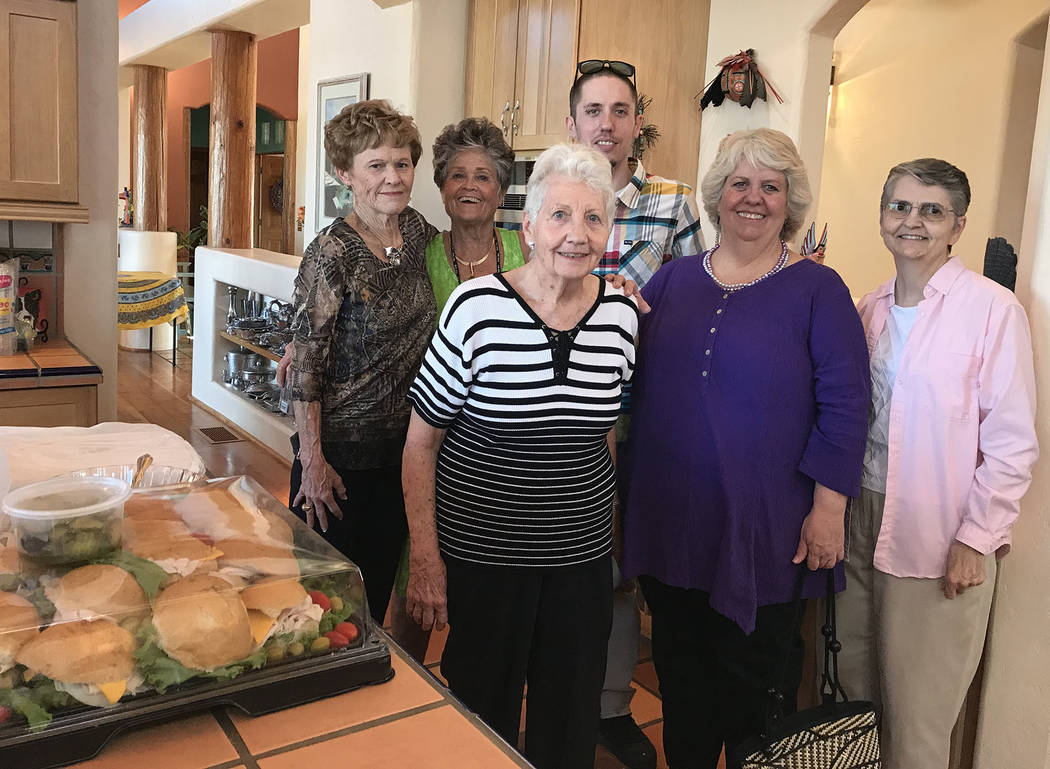 Hali Bernstein Saylor/Boulder City Review Board members and organizers for Boulder City Chautauqua, from left, Bev Mazza, Sue McCullough, Sara Weber, Brent Reedy, Dana Reedy and Linda Bronstein, g ...