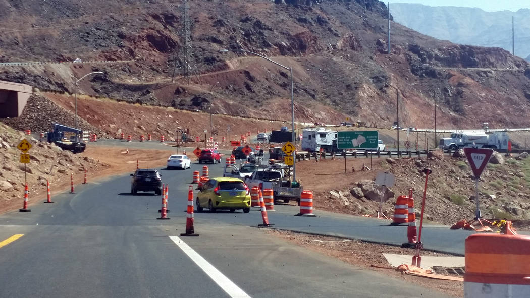 Celia Shortt Goodyear/Boulder City Review The roundabout at Interstate 11 and U.S. Highway 93 near the Hoover Dam is still under construction. Once completed, it will be easier for drivers to trav ...