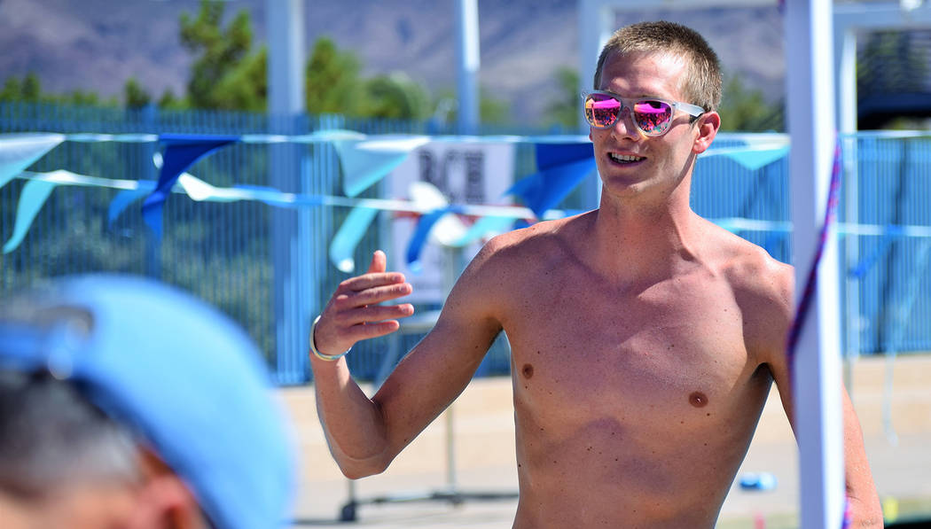 Robert Vendettoli/Boulder City Review Zane Grothe, who set a record in the 800-meter freestyle at the 2018 Pan Pacific Championships and earned a spot on Team USA, returned to his hometown swim te ...