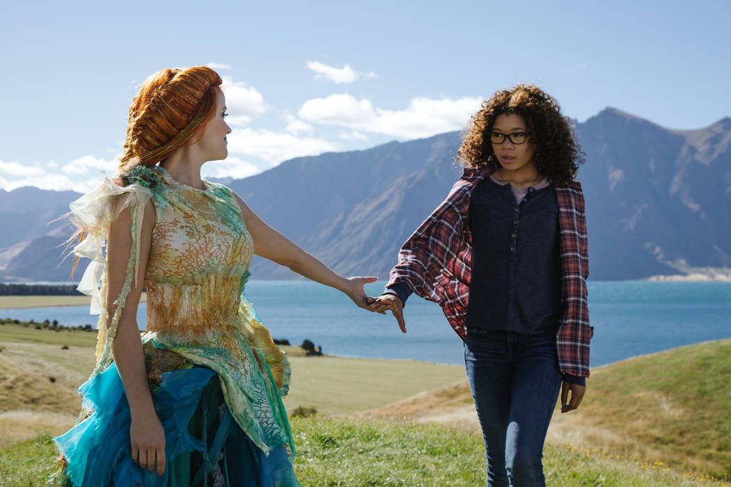 """Reese Witherspoon is Mrs. Whatsit and Storm Reid is Meg Murry in Disney's """"A Wrinkle in Time."""""""