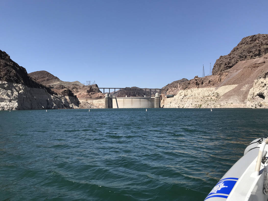 Hali Bernstein Saylor/Boulder City Review Hoover Dam and the Mike O'Callaghan-Pat Tillman Memorial Bridge can be seen from Lake Mead.