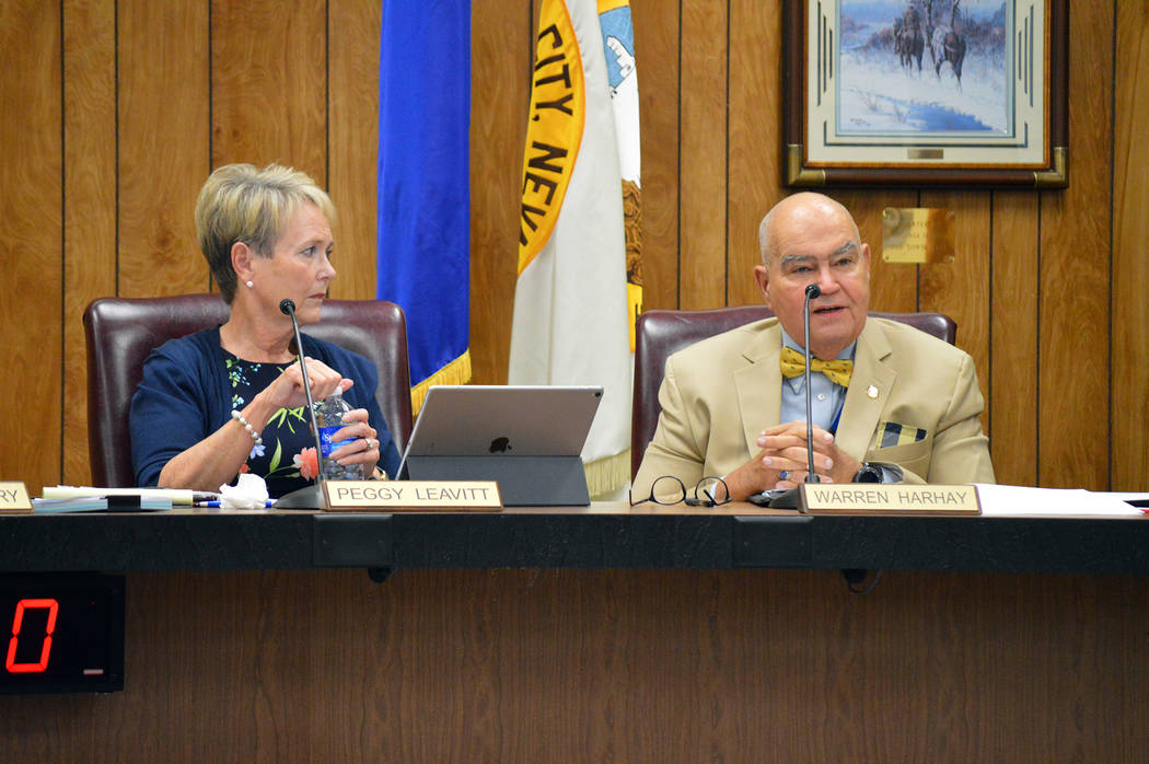 Celia Shortt Goodyear/Boulder City Review Councilwoman Peggy Leavitt listens to Councilman Warren Harhay's comment about the city's new communications plan at the City Council meeting on Tuesday, ...