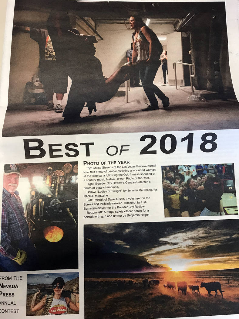 Hali Bernstein Saylor/Boulder City Review The Best of 2018 listing award winners in the 2018 Better Newspaper Contest presented by the Nevada Press Association features two top photos from Boulder ...
