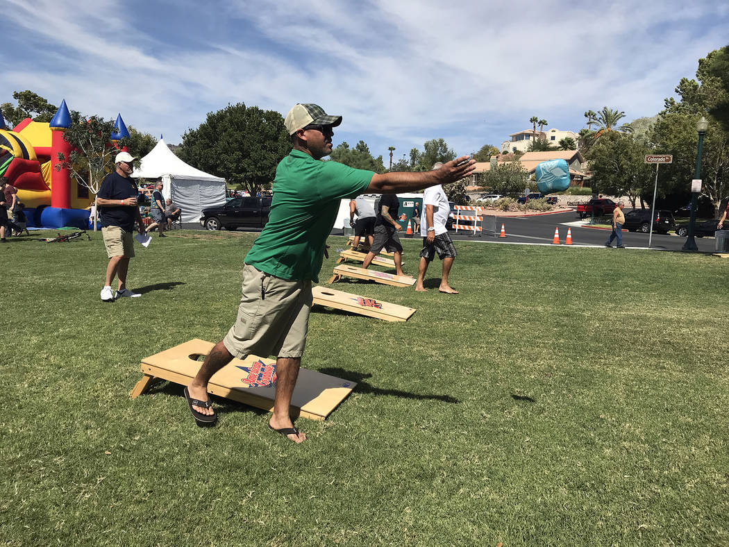 Hali Bernstein Saylor/Boulder City Review A cornhole tournament joined the activities at the annual Wurst Festival presented by Boulder City Sunrise Rotary on Saturday.